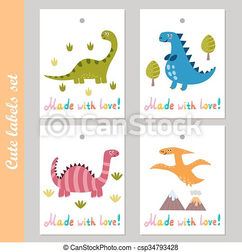 cute labels set with funny dinosaurs made with love vector stickers