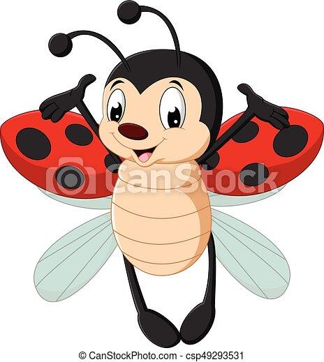 vector illustration of cute ladybug cartoon rh canstockphoto com Cartoon Ladybug Cute ladybug cartoon pictures