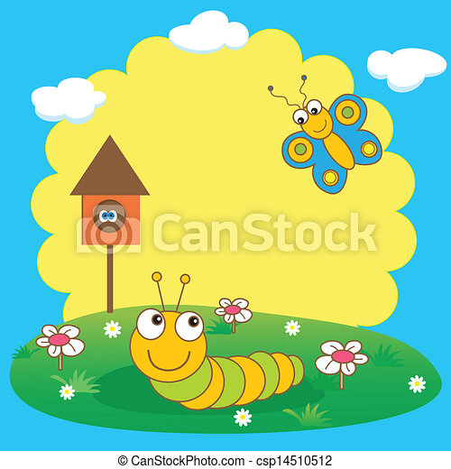 cute, lagarta, butterfly., cartão, primavera - csp14510512