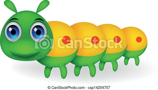 cute, lagarta, verde, caricatura - csp14204707