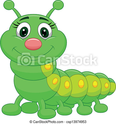 cute, lagarta, verde, caricatura - csp13974953