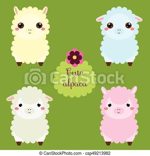 cute lamas. cartoon llama characters. happy kawaii alpaca. vector
