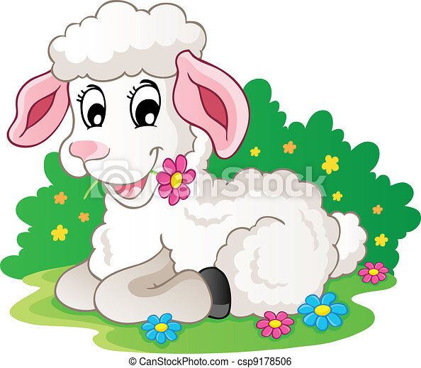Cute lamb with flowers - csp9178506