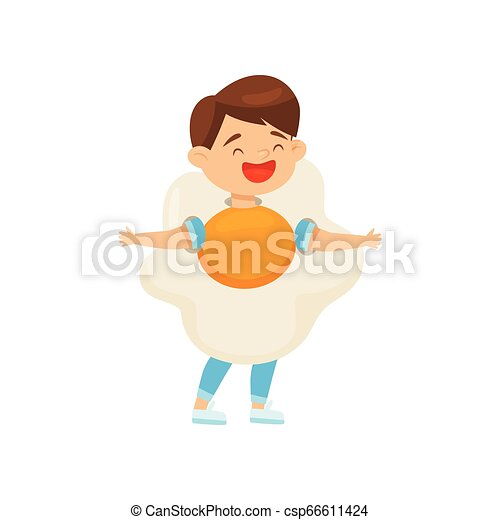 Cute laughing boy wearing fried egg costume. Cartoon character of cheerful kid. Halloween outfit. Flat vector design - csp66611424
