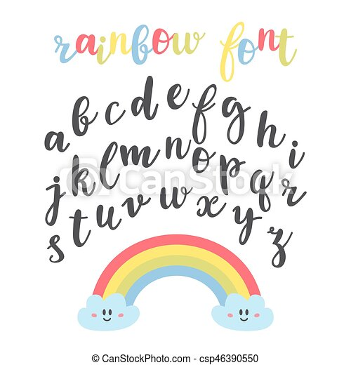 Cute Letters Hand Drawn Calligraphic Font Lettering Alphabet Rainbow