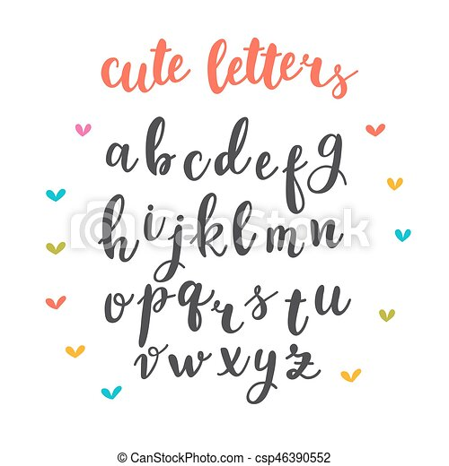 cute letters hand drawn calligraphic font lettering alphabet