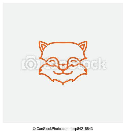 cute line fox head face logo design - csp84215543