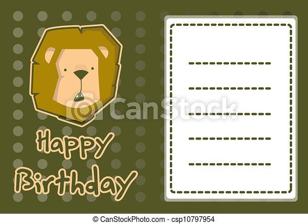 Cute lion birthday card clipart vector search illustration cute lion birthday card csp10797954 bookmarktalkfo Choice Image