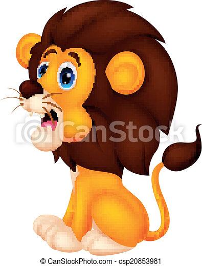 Cute lion cartoon  - csp20853981