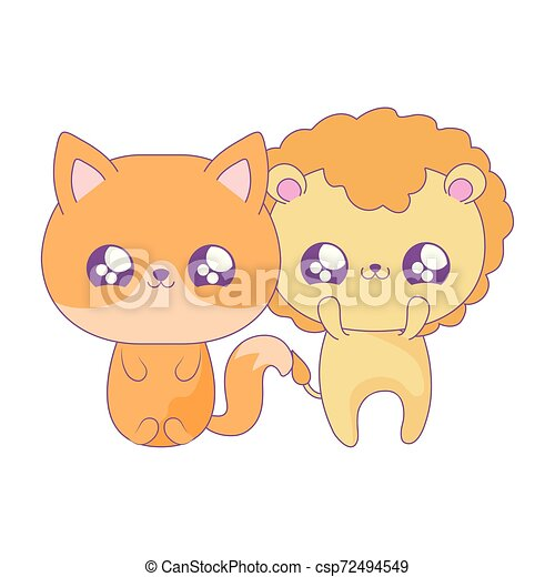 Cute Lion With Fox Baby Animals Kawaii Style Vector Illustration Design