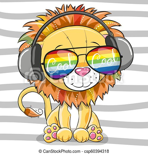 Cute Lion with sun glasses - csp60394318