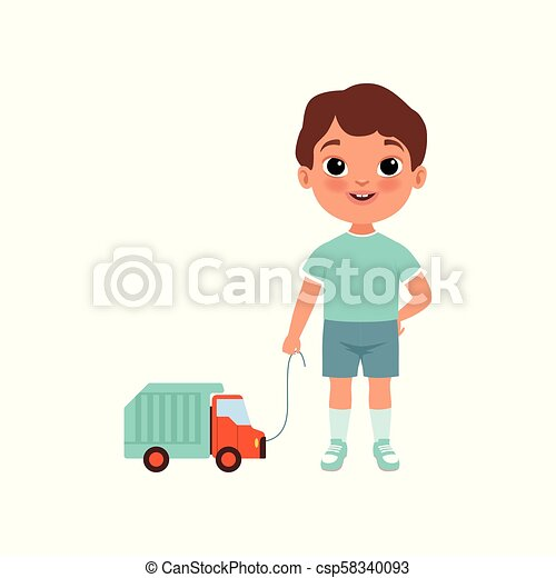 Cute litlle boy with toy car, stage of growing up concept vector Illustration on a white background - csp58340093