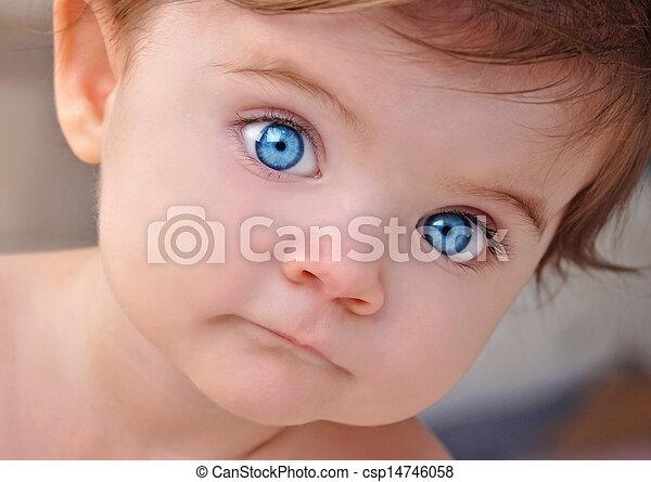 Cute Little Baby Blue Eyes Closeup Portrait - csp14746058