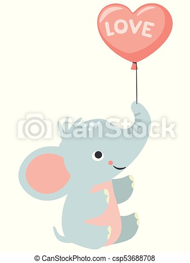 Cute little baby elephant holding heart shaped balloon valentines cute little baby elephant holding heart shaped balloon valentines day birthday baby shower love card voltagebd Image collections