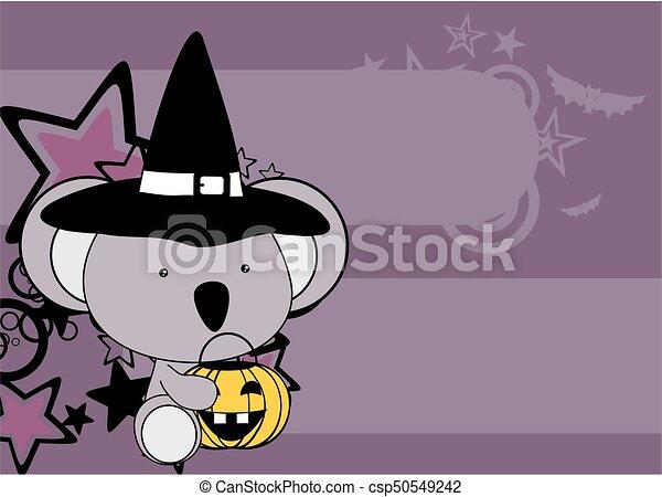 Cute Little Baby Koala Cartoon Halloween Costume Background