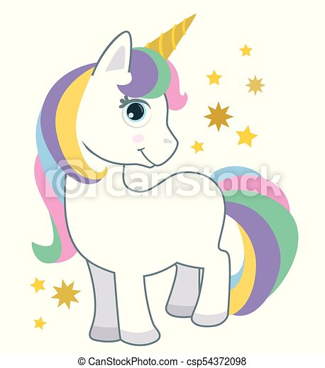 Cute Little Baby Unicorn With Rainbow Hair Isolated On White Cartoon Style Vector Illustration
