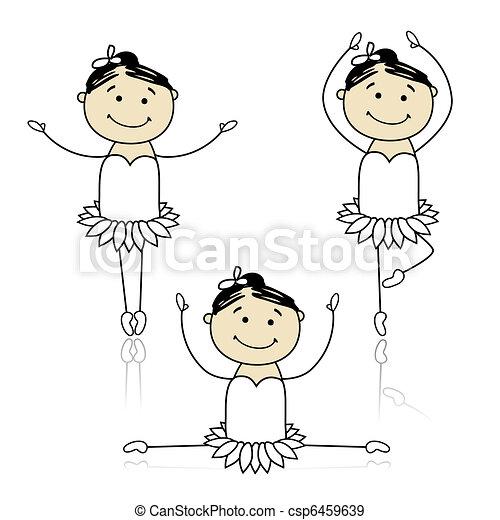 Cute little ballet dancers for your design - csp6459639