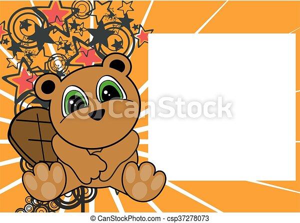 cute little beaver cartoon frame - csp37278073