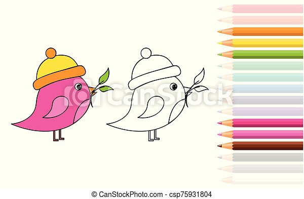- Cute Little Bird For Coloring Book With Pencils Vector Illustration Eps10.