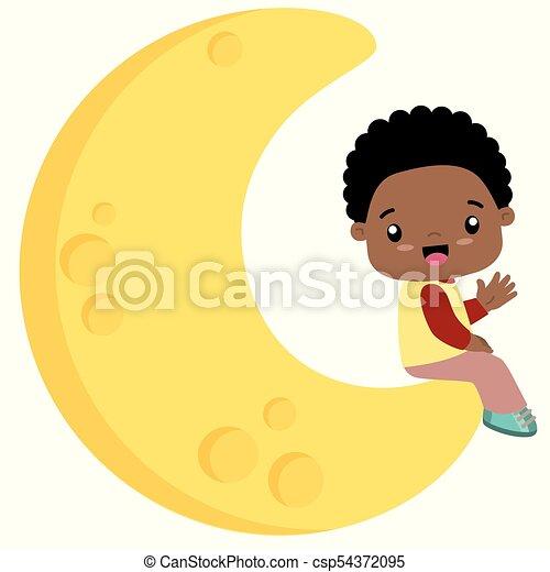 Cute Little Black Boy Sitting On Moon Flat Vector Illustration