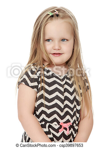 Cute Little Blonde Portrait Of A Beautiful Little Girl With Long Blonde Hair Below The Belt Close Up Isolated On White Canstock