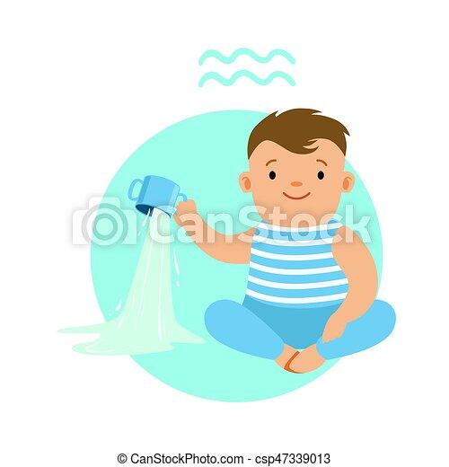Cute Little Boy As Aquarius Astrological Sign Horoscope Symbol