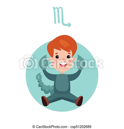 Cute little boy as Scorpio astrological sign, horoscope zodiac character  colorful cartoon vector Illustration