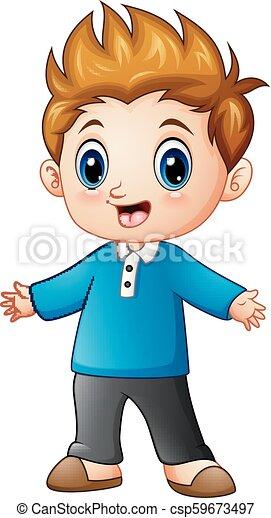 Vector illustration of cute little boy cartoon.