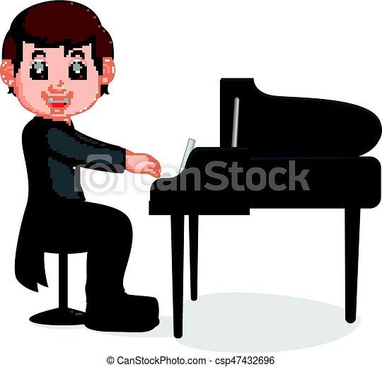 Cute little boy cartoon playing piano - csp47432696