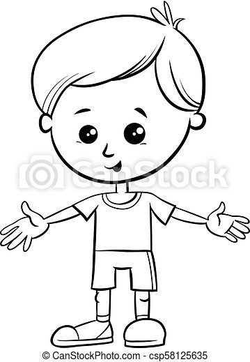 Cute little boy character coloring book. Black and white ...