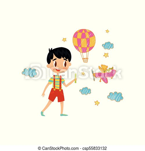 Cute little boy drawing with color pencils on the wall, young artist, kids activity routine vector Illustration - csp55833132