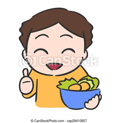Cute little boy eats vegetable - csp29410857
