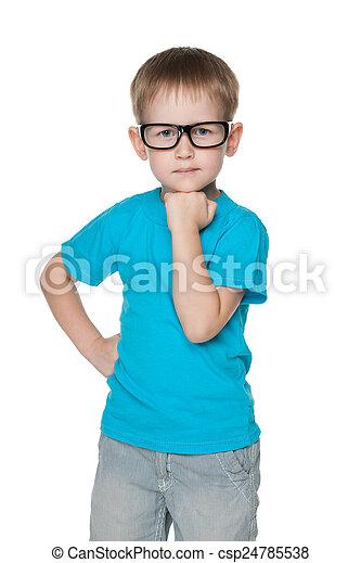 Cute little boy in a blue shirt - csp24785538