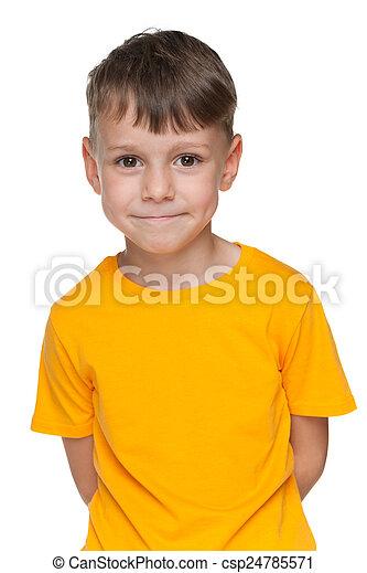 Cute little boy in yellow shirt - csp24785571