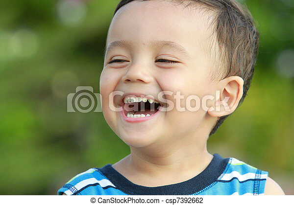 Isolated studio photo of laughing boy on the white background ...