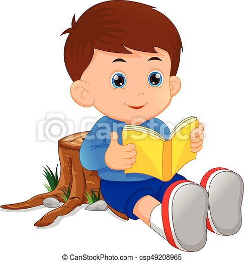 vector illustration of cute little boy reading book clip art vector rh canstockphoto com man reading book clipart boy reading book clipart