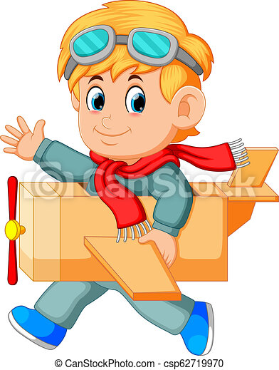 Illustration Of Cute Little Boy Running Play With Airplane Toys