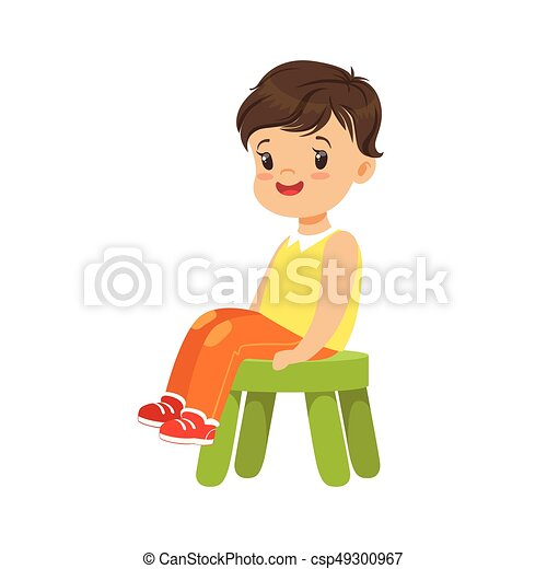 Incredible Cute Little Boy Sitting On A Small Green Stool Colorful Character Gmtry Best Dining Table And Chair Ideas Images Gmtryco
