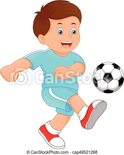 vector illustration of cute little boy soccer player clip art vector rh canstockphoto com soccer player clipart soccer player clipart black and white