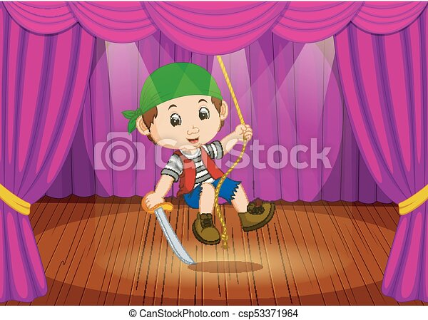 cute little boy wearing pirate costume on stage - csp53371964