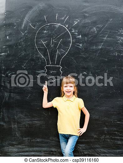 cute little boy with finger up having an idea - csp39116160