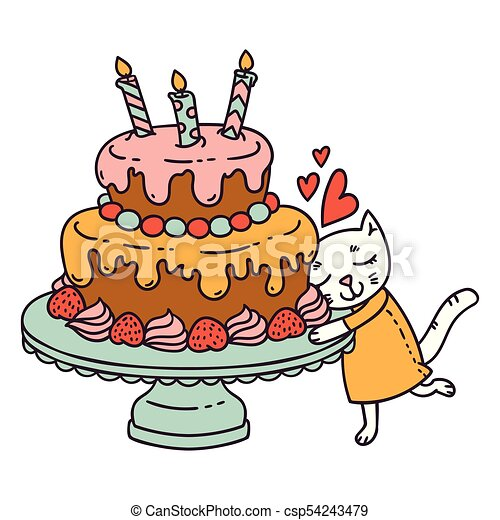 Cute little cat love her birthday cake  Isolated objects on white  background  Vector illustration