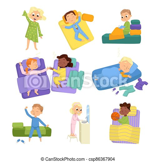 Cute Little Children Sleeping Sweetly in their Beds Set, Bedtime, Sweet Dreams of Adorable Kids Concept Cartoon Style Vector Illustration - csp86367904