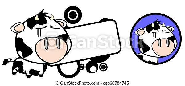 Cute Little Cow Cartoon Copy Space In Vector Format Very Easy To Edit