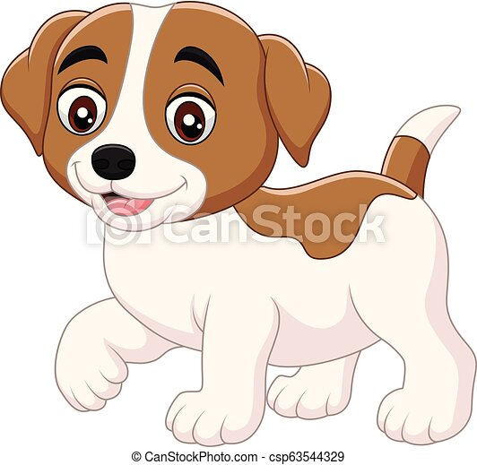 Cute little dog cartoon isolated on white background - csp63544329