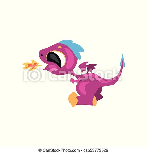 Cute little dragon having fun and breathing with fire. Cartoon character of fantastic animal. Flat vector for sticker, card, kids print, mobile or computer game - csp53773529