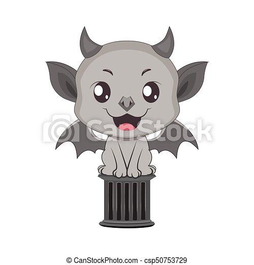 Cute little gargoyle illustration - csp50753729