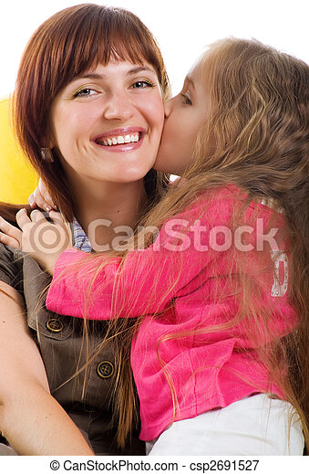 Cute little girl and her smiley mother - csp2691527