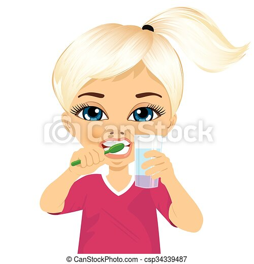 girl brushing teeth clipart. cute little girl brushing teeth csp34339487 clipart c