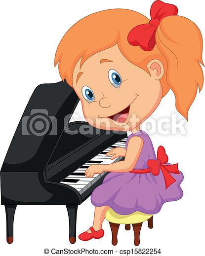 Cute little girl cartoon playing pi - csp15822254